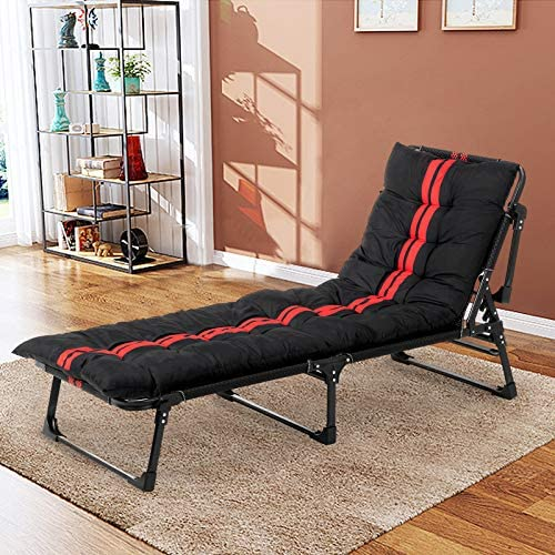 mecor Adjustable Outdoor Folding Chaise lounges with Pillow and Movable Mattress, Folding Camping Cot Adjustable Folding Bed for Indoor Office Balcony Outdoor Patio Garden Beach red