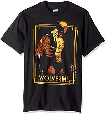 Marvel Men's Wolverine Classic Character Gold Framed T-Shirt, Black, Small