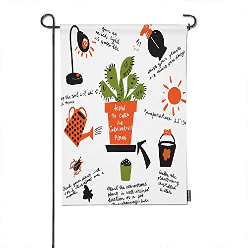 HGOD DESIGNS Plant Garden Flag,Funny How to Grow Carnivorous Plant Explain Map Welcome Decorative Garden Flags Cotton Linen Waterproof for Garden Banner 12