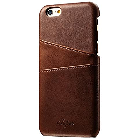 Wallet Phone Case, Slim Leather Back Case Cover With Credit Card Holder Brown Case , For 5.5 inches (iPhone6 Plus/6S (Iphone6 Plus Case Card Holder)