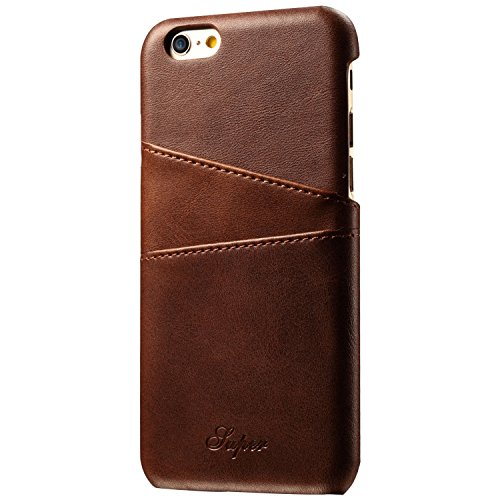 Iphone 6/6S Wallet Phone Case, Slim Leather Back Case Cover With Credit Card Holder Brown Case