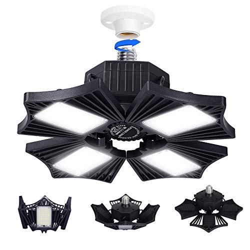 LED-garagelamp, vervormbare garageverlichting met radarsensor, 120W 12000LM ultraheldere led-plafondlampen met 4…