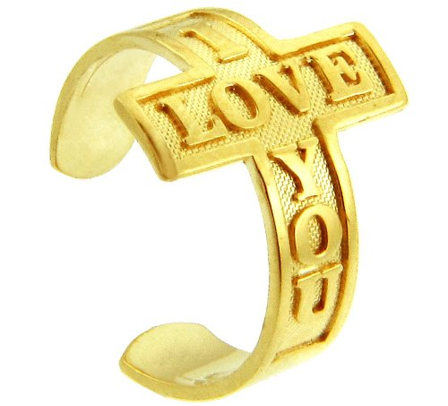 14k Yellow Gold ''I LOVE YOU'' Sideways Cross Toe Ring by More Toe Rings