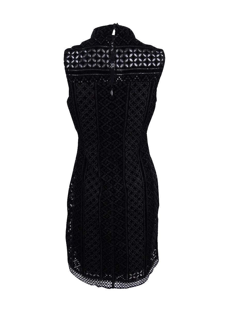 GUESS Womens Velvet Embroidered Sheath Dress