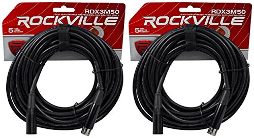(2) Rockville RDX3M50 50 Foot 3 Pin DMX Lighting Cables 100% OFC Female to Male
