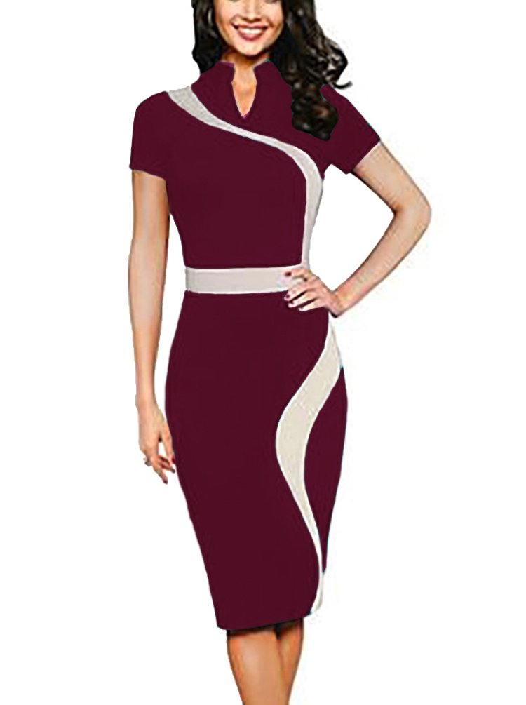 REPHYLLIS Women Elegant Wear to Work Casual Cocktail Evening Party Summer Business Pencil Dress Burgundy XXL