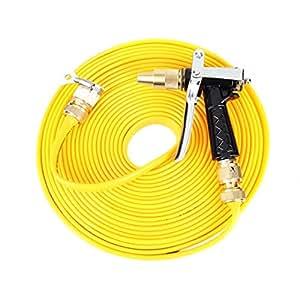 131ft manguera de jardín con 4funciones Spray pistola, no Twist y nudo (amarillo, 40m)