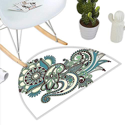Henna Semicircle Doormat Hand Drawn Traditional Flower Arrangement Ornate Design Vibrant Colors Halfmoon doormats H 15.7