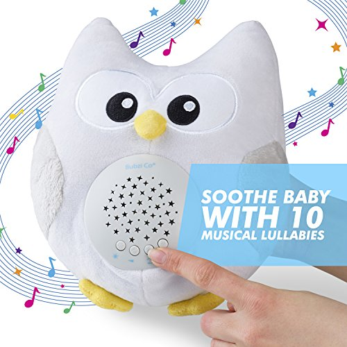 Bubzi Co Baby & Toddler White Noise Sound Machine Sleep Aid Night Light. New Baby Gift, Baby Essentials Woodland Owl Decor Nursery & Portable Soother Stuffed Animals Owl for Crib to Comfort Plush Toy