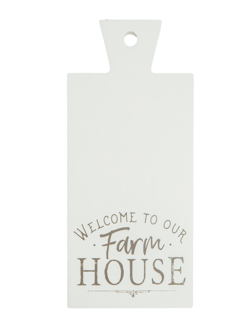 P Graham Dunn Welcome to Our Farmhouse Whitewash 9.5 x 19 Wood Decorative Bread Board Wall Plaque
