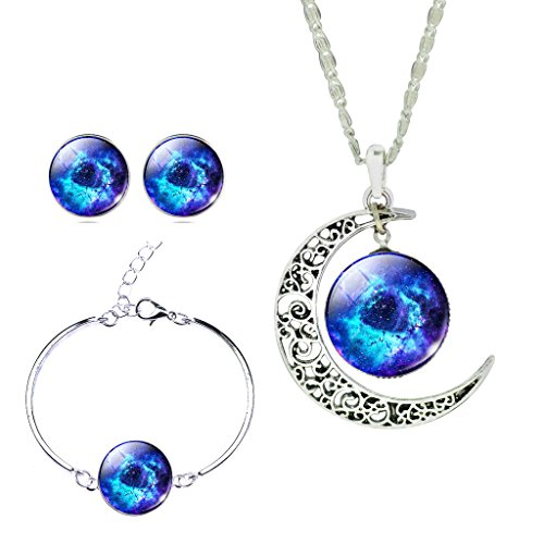 JIAYIQI Men Fancy Galaxy Outer Space Jewelry Hollow New Moon Crystal Cabochon Necklace Earrings Bracelet Set