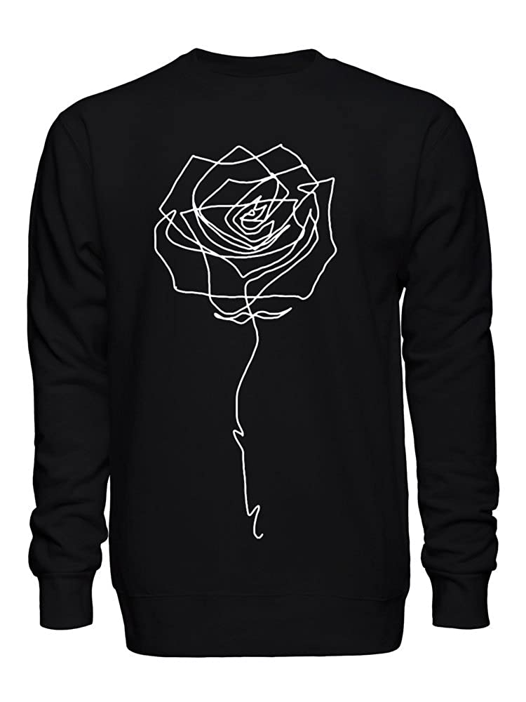 Beautiful Minimal One Line Rose Drawing Unisex Crew Neck Sweatshirt