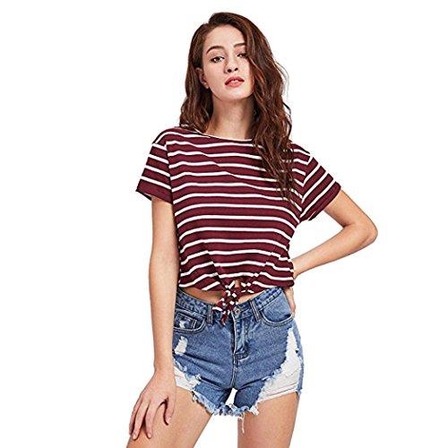 T-Shirt Femme Ete 2018 Ansenesna Femme t-Shirt Manches Courtes Strips Minimaliste Tee Col Rond +1 Paire de Lunettes de Soleil Élégantes Rouge