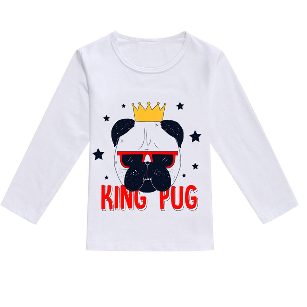 NUWFOR Toddler Baby Kids Boys Girls Spring Cartoon Print Tops T-Shirt Casual Clothes(Black,4-5 Years)