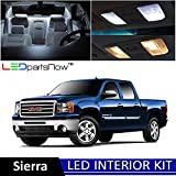 LEDpartsNow GMC Sierra 2007-2013 Xenon White Premium LED Interior Lights Package Kit (12 Pieces) + TOOL