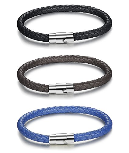 FIBO STEEL 3PCS Stainless Steel Braided Leather Bracelet for Men Women Wrist Cuff Bracelet 8.5 inches