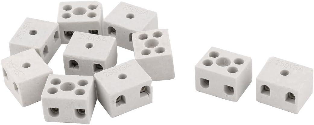 Aexit Porcelaine haute temp/érature en c/éramique Connecteur de fil bornier 5A 250V 10pcs 432C956