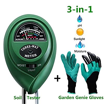 Soil pH Meter,Soil Tester Kit Include 3-in-1 Soil Moisture Meter for pH/ Moisture/ Light and Garden Genie Gloves, Garden/ Farm/ Lawn/ Flowerpot/ Home Tools, Indoor/ Outdoors Plants,Herbs& Gardening