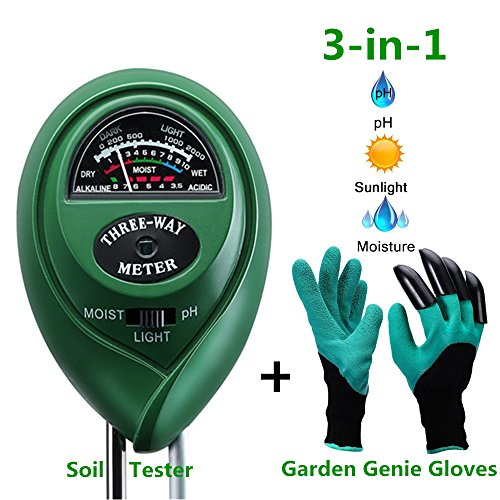 Diiker Soil Test kit, Soil pH meter Include 3-in-1 Moisture Tester Digital Tool for pH/Water/Light and Garden Genie Gloves, Testing for Gardening/Lawn/Plants, Indoor Outdoors(No Battery (Genie 1 Light)