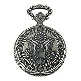 Gotham Men's Silver-Tone Presidential Seal Day-Date Quartz Covered Pocket Watch # GWC14087S