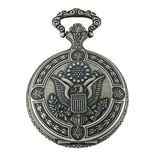 Gotham Men's Silver-Tone Presidential Seal Day-Date Quartz Covered Pocket Watch # GWC14087S (Silver Date Watch Pocket)