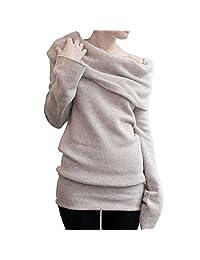 Women Fall Winter Knit Off-Shoulder Solid Stretch Pullover Sweater Sweatshirt