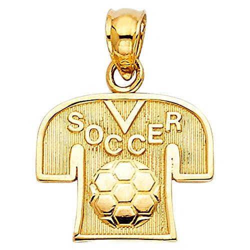 Gold Mini Soccer Jersey - Million Charms 14k Yellow Gold Small/Mini Soccer Jersey Charm Pendant (12mm x 14mm)