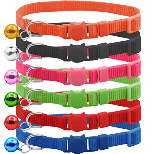 JIATECCO Cat Collar Breakaway 6 Pack Bright Nylon Safety Collar Set with Bell for Kitty Kitten 8-11.4 -