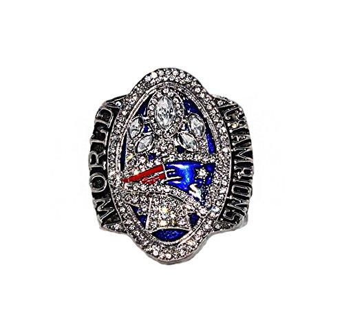NEW ENGLAND PATRIOTS (Tom Brady) 2016 SUPER BOWL LI WORLD CHAMPIONS (Comeback Vs. Falcons) Collectible High Quality Replica NFL Football Silver Championship Ring with Cherrywood Display Box