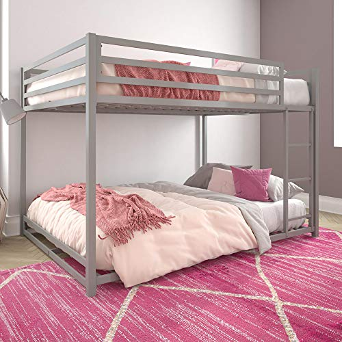 DHP Miles Metal Full, Silver Bunk Bed (Twin Over Full Trundle Bunk Bed Set)