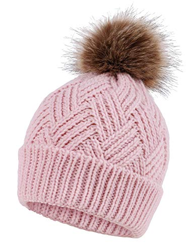 Pom Pom Knit Accent - Women's Diamond Weave Knit Faux Fur Pompom Winter Beanie, Pink
