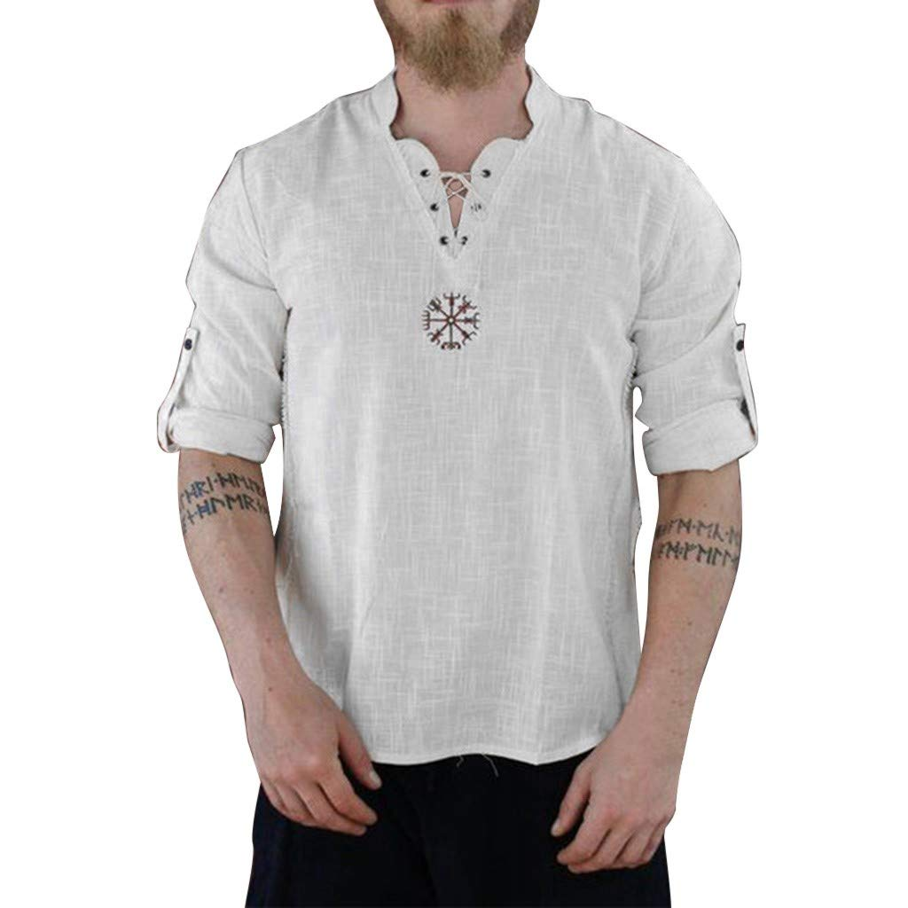 Casual Cotton Hemp T-Shirt for Men Breathable Solid V-Neck Printed Lightweight Tops (White, L-US/EU Size:L)