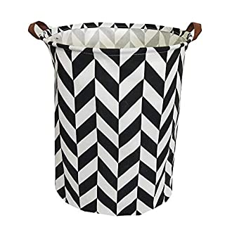 """TIBAOLOVER 19.7"""" Large Sized Waterproof Foldable Laundry Hamper Bucket,Dirty Clothes Laundry Basket, Bin Storage Organizer for Toy Collection,Canvas Storage Basket with Stylish Design(Black Diamond)"""