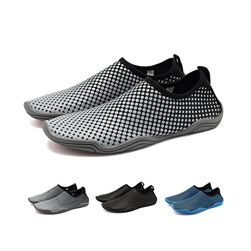 BlanKey Water Sports Shoes Quick-Dry Barefoot Flexible Flats Beach Swim Shoes For Men Women Kids Gray Honeycomb