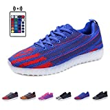 BOKEN Fashion LED Shoes Breathable Light Up USB Charging Flashing Sneakers With Remote(Women/Men)-39(Blue/Red)