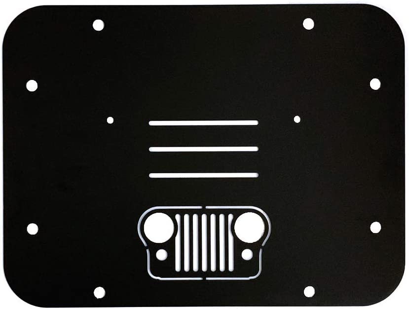 YIFAT 1PC Black Spare Tire Delete Plate Tailgate Carrier Grille for Jeep Wrangler JK JKU 2007-2017 No Drilling