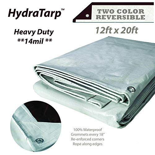 20' Double Duty Tarp - Watershed Innovations HydraTarp 12ft X 20ft Heavy Duty Waterproof Tarp - 14mil Thick - White/Brown Reversible Tarp