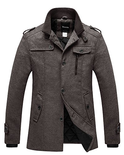 Tweed Fitted Jacket (Wantdo Men's Winter Pea Coat Single Breasted Thicken Warm Military Peacoat Jacket Coffee Large)