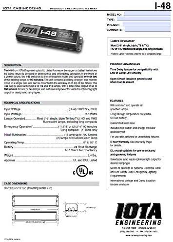 Iota I-48 Emergency Ballast I48 TBTS Series Fluorescent Backup
