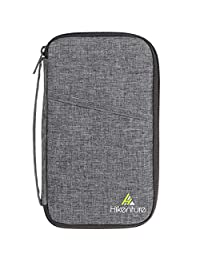 Hikenture® RFID Blocking Travel Passport Wallet   Family Passport Holder with Cationic Polyester   Document Card Organizer   Ticket Holderwith Strap for Men&Women(Grey)