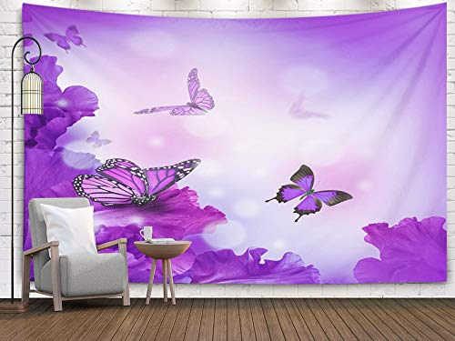 Pamime Easter Home Decor Tapestry for Christmas Amazing Butterfly Fairy Flowers Hydrangeas Wall Tapestry Hanging Tapestries for Dorm Room Bedroom Living Room 80x60 Inches ()