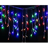 120 LED Outdoor Icicle Waterproof Battery 8 Multi-Function with Timer String Lights Christmas Garden Xmas Party Fairy (Multi-Coloured)