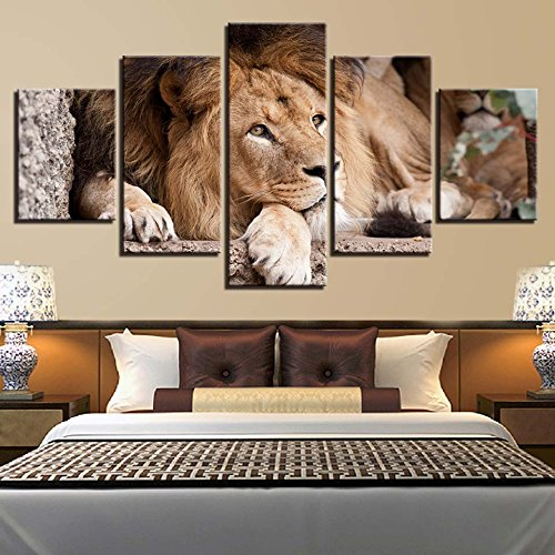 [Mediuml] Premium Quality Canvas Printed Wall Art Poster 5 Pieces / 5 Pannel Wall Decor Lion Abstract Painting, Home Decor Pictures - With Wooden Frame