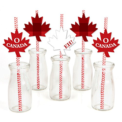 Canada Day - Paper Straw Decor - Canadian Party Striped Decorative Straws - Set of 24 -