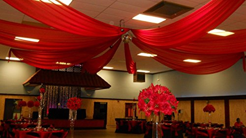 Ceiling Draping Red Sheer Ceiling Curtain Voile Chiffon Ceiling Drape 10 Ft W X 20 Ft H Panel - Draping Wedding Ceiling