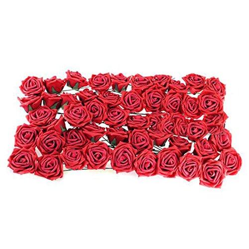 Medius DIY Foam 50Pcs Artificial Flowers For Wedding Arrangement Bouquet Big Red