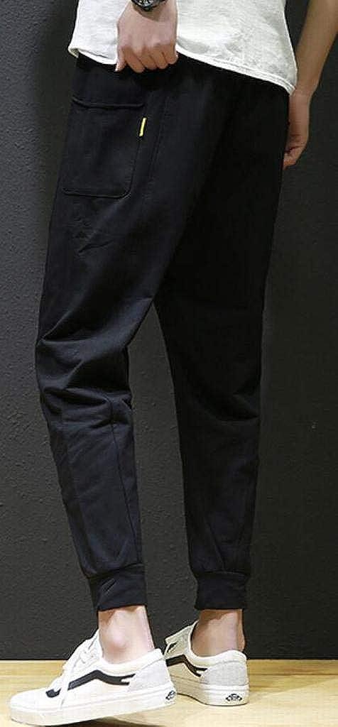 XiaoTianXinMen XTX Men Relaxed Fit Ankle Drawstring Plus Size Jogger Pants Lounge Pants Trousers