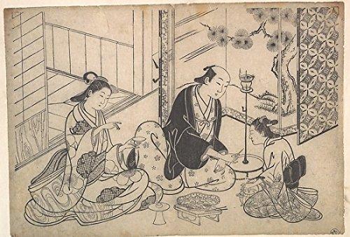 "Interior Three Figures Sake Party Poster Print by Hasegawa Mitsunobu (Japanese active ca 1724 ""1754) (18 x 24)"