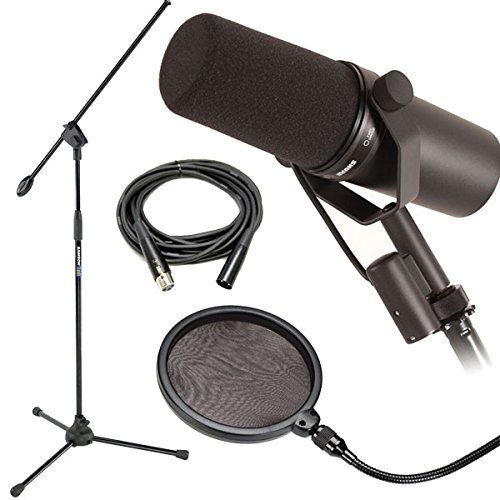 Shure SM7B Dynamic Vocal Mic w/ Mic Boom Stand, Pop Filter & 20' XLR Cable by Shure