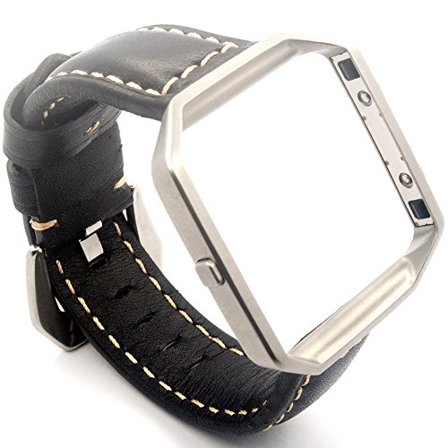 Cheboom Genuine Leather Replacement Bracelet Strap for Fitbit Blaze Bands For Men Women With Link Stainless Steel Frame,Smart Fitness Retro Style Watch Band/Black Band Large